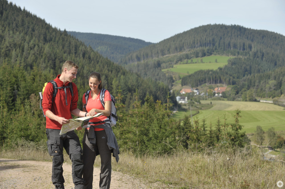 Zwei Wanderer erkunden die unberührte Naturlandschaft rund um Donaueschingen, Hüfingen und Bräunlingen