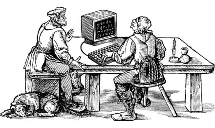 Ein Grafik-Designer beim Desktop-Publishing